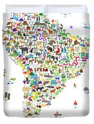 Animal Map Of South America For Children And Kids Duvet Cover