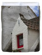 Animal Statue On The Dormer Roof Of A House In Bruges Belgium Duvet Cover