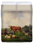 Animals Grazing In A Meadow  Duvet Cover by Hendrikus van de Sende Baachyssun