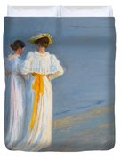 Anna Ancher And Marie Kroyer On The Beach At Skagen Duvet Cover