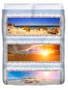 Anna Maria Island Beach Collage Duvet Cover