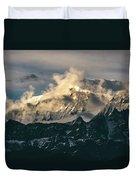 Annapurna Mountain Range In Evening Sunlight Duvet Cover