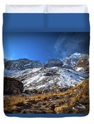 Annapurna Trail With Snow Mountain Background In Nepal Duvet Cover