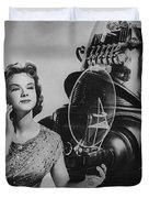 Anne Francis Movie Photo Forbidden Planet With Robby The Robot Duvet Cover