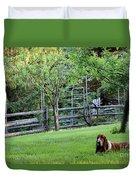 Annie In Her Yard Duvet Cover