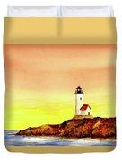 Annisquam Harbor Lighthouse - Summer Scene Duvet Cover