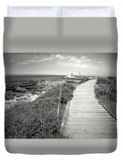 Another Asilomar Beach Boardwalk Black And White Duvet Cover