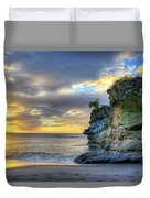 Anse Mamin Rock Formation At Sunset Saint Lucia Caribbean Sunset Duvet Cover