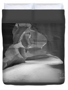 Antelope Slot Canyon Black And White Duvet Cover