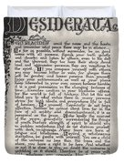Antique Florentine Desiderata Poem By Max Ehrmann On Parchment Duvet Cover