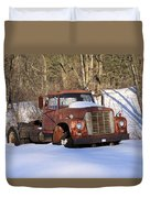 Antique Grungy Truck In Snow Duvet Cover