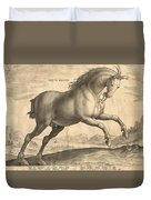 Antique Horse Engraving - Equus Regius Duvet Cover