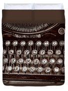 Antique Keyboard - Sepia Duvet Cover