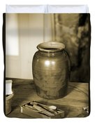 Antique Laundry And Clothes Pins In Sepia Photograph Duvet Cover