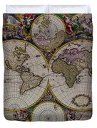 Antique Map Exotic Colorful Duvet Cover