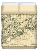 Antique Map Of Eastern Canada Duvet Cover