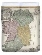 Antique Map Of Ireland Showing The Provinces Duvet Cover