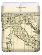 Antique Map Of Italy Duvet Cover
