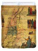 Antique Map Of Palestine 1856 On Worn Parchment Duvet Cover