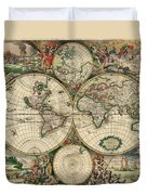 Antique Map Of The World - 1689 Duvet Cover