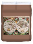 Antique Map Of The World - Double Hemisphere Duvet Cover