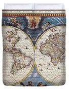 Antique Maps Of The World Joan Blaeu C 1662 Duvet Cover