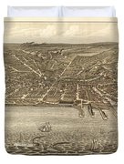 Antique Maps - Old Cartographic Maps - Antique Birds Eye View Map Of Cleveland, Ohio, 1877 Duvet Cover