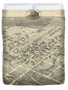 Antique Maps - Old Cartographic Maps - Antique Birds Eye View Map Of Denton, Texas, 1883 Duvet Cover