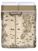 Antique Maps - Old Cartographic Maps - Antique Map Of Schetland And Orkney Islands - Scotland,1654 Duvet Cover