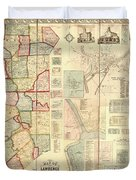 Antique Maps - Old Cartographic Maps - Antique Map Of Lawrence And Beaver Counties, 1860 Duvet Cover