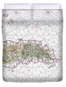 Antique Maps - Old Cartographic Maps - Antique Map Of Hispaniola - Caribbean Island Duvet Cover