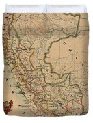 Antique Maps - Old Cartographic Maps - Antique Map Of Peru, South America, 1913 Duvet Cover