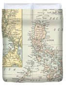 Antique Maps - Old Cartographic Maps - Antique Map Of Philippine Islands And Manila Bay, 1898 Duvet Cover
