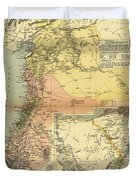 Antique Maps - Old Cartographic Maps - Antique Map Of Syria, 1884 Duvet Cover