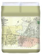 Antique Maps - Old Cartographic Maps - Antique Map Of The City Of Chester, England, 1870 Duvet Cover