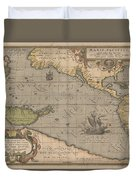 Antique Maps - Old Cartographic Maps - Antique Map Of The Pacific Ocean - Mar Del Zur, 1589 Duvet Cover