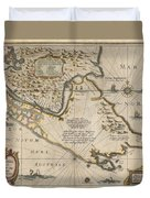 Antique Maps - Old Cartographic Maps - Antique Map Of The Strait Of Magellan, South America, 1635 Duvet Cover