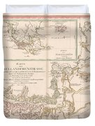 Antique Maps - Old Cartographic Maps - Antique Map Of The Strait Of Magellan, South America, 1787 Duvet Cover