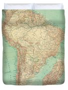 Antique Maps - Old Cartographic Maps - Antique Russian Map Of South America Duvet Cover