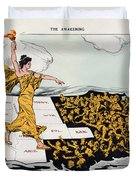 Antique Map Of The United States Of America - The Spirit Of Liberty - The Awakening, 1915 Duvet Cover