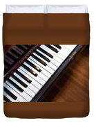 Antique Piano Keys From Above With Hardwood Floor Duvet Cover