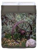 Antique Steel Wagon Wheel Duvet Cover