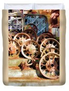 Antique Wagon Wheels And Baskets Duvet Cover