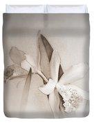 Antique White Orchids Duvet Cover