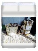 Antique Wooden Buckets Duvet Cover