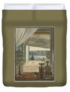 Antiquities By A Balcony Overlooking The Gulf Of Naples Duvet Cover