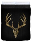 Antlered Skulls - Gold Deer Skull X-ray Over Black Canvas No.1 Duvet Cover
