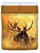 Antlers In The Golden Grass Duvet Cover