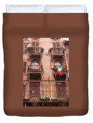 Apartments Overlooking The Streets Of Verona Duvet Cover