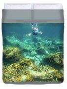 Apnea In Tropical Sea Duvet Cover
